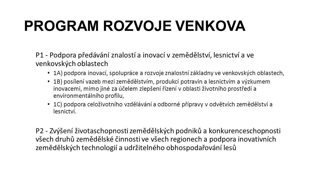 PROGRAM ROZVOJE VENKOVA P1 - Podpora předávání znalostí a inovací v zemědělství, lesnictví a ve venkovských oblastech 1A) podpora inovací, spolupráce
