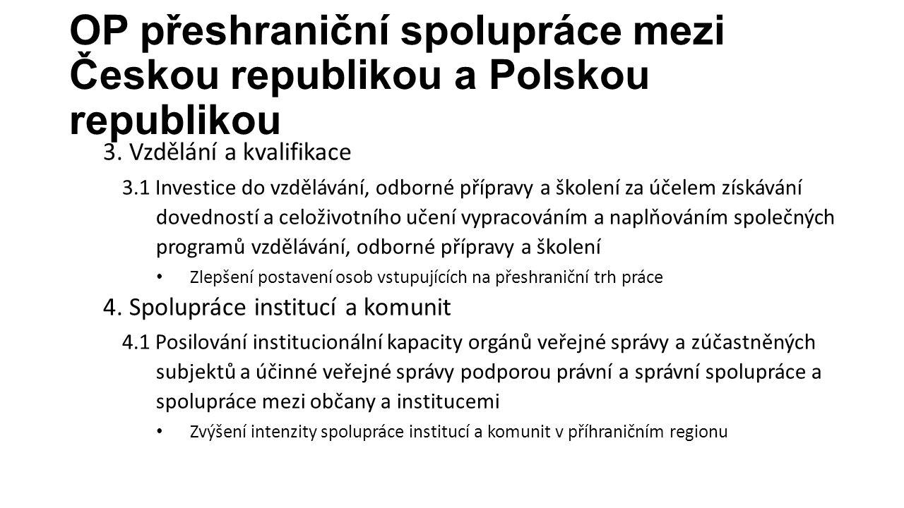 OP přeshraniční spolupráce mezi Českou republikou a Polskou republikou 3. Vzdělání a kvalifikace 3.1 Investice do vzdělávání, odborné přípravy a škole