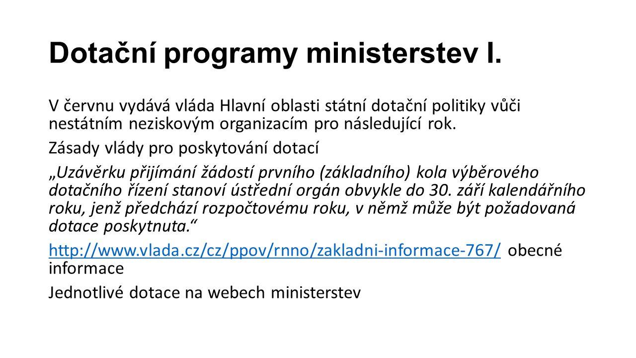Dotační programy ministerstev I. V červnu vydává vláda Hlavní oblasti státní dotační politiky vůči nestátním neziskovým organizacím pro následující ro