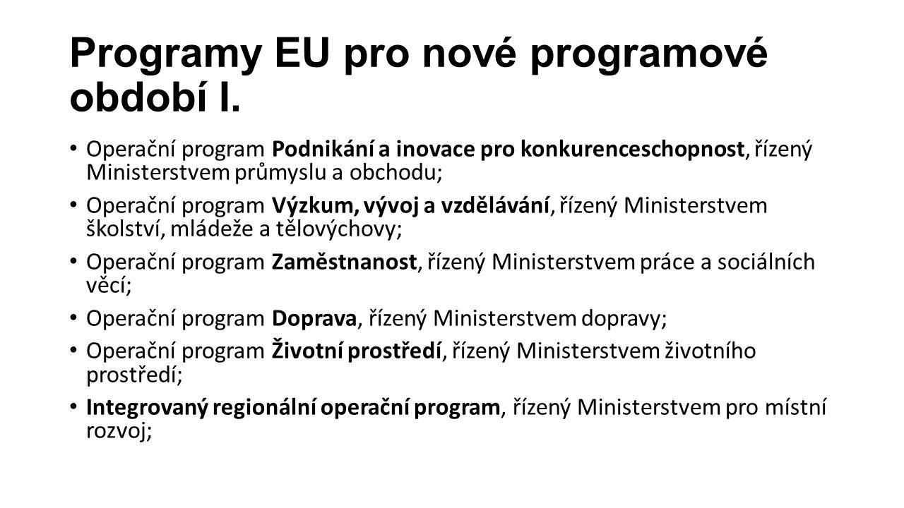 Programy EU pro nové programové období I. Operační program Podnikání a inovace pro konkurenceschopnost, řízený Ministerstvem průmyslu a obchodu; Opera