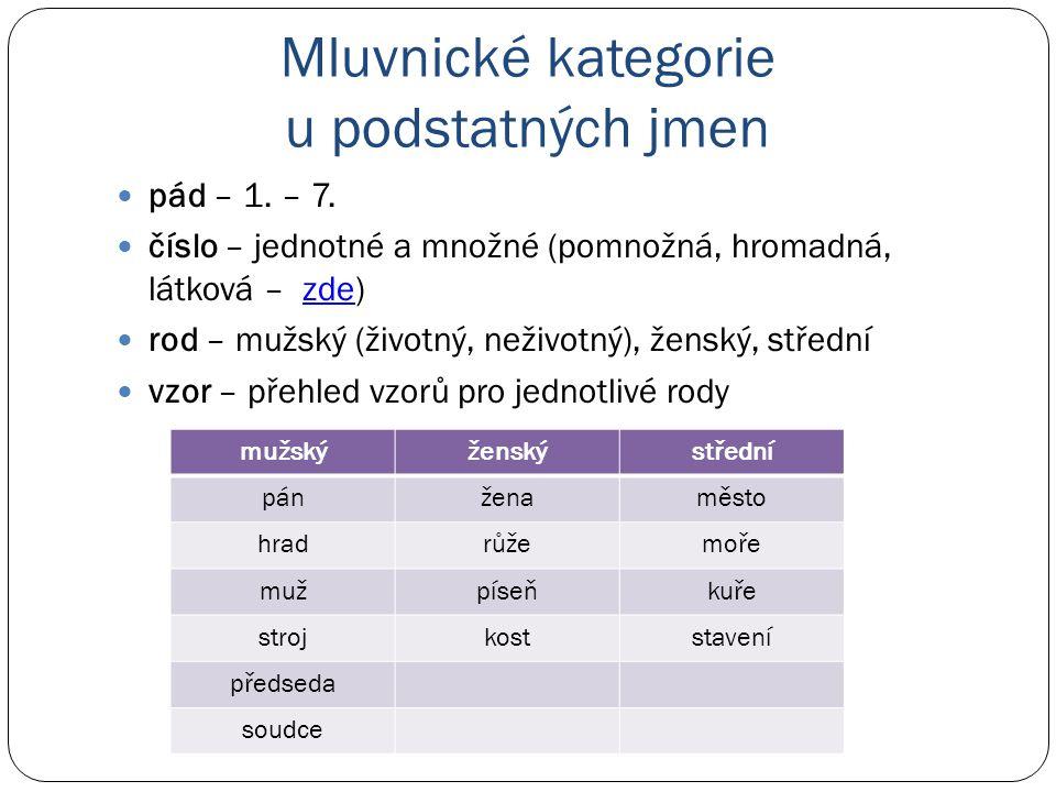 Mluvnické kategorie u podstatných jmen pád – 1. – 7. číslo – jednotné a množné (pomnožná, hromadná, látková – zde)zde rod – mužský (životný, neživotný