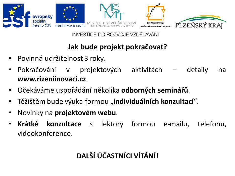 Jak bude projekt pokračovat? Povinná udržitelnost 3 roky. Pokračování v projektových aktivitách – detaily na www.rizeniinovaci.cz. Očekáváme uspořádán