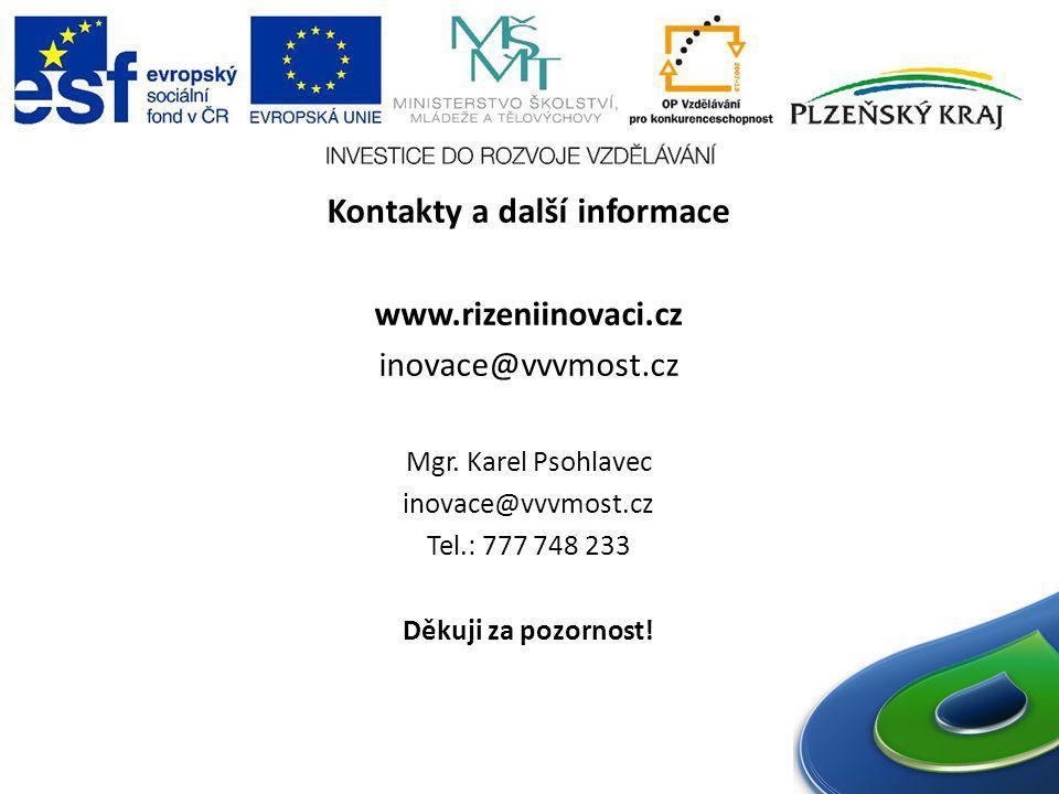 Kontakty a další informace www.rizeniinovaci.cz inovace@vvvmost.cz Mgr. Karel Psohlavec inovace@vvvmost.cz Tel.: 777 748 233 Děkuji za pozornost!