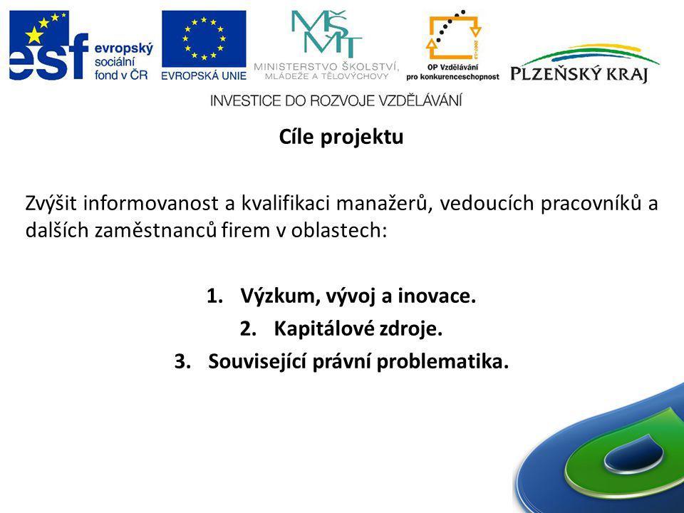 Cíle projektu Zvýšit informovanost a kvalifikaci manažerů, vedoucích pracovníků a dalších zaměstnanců firem v oblastech: 1.Výzkum, vývoj a inovace. 2.
