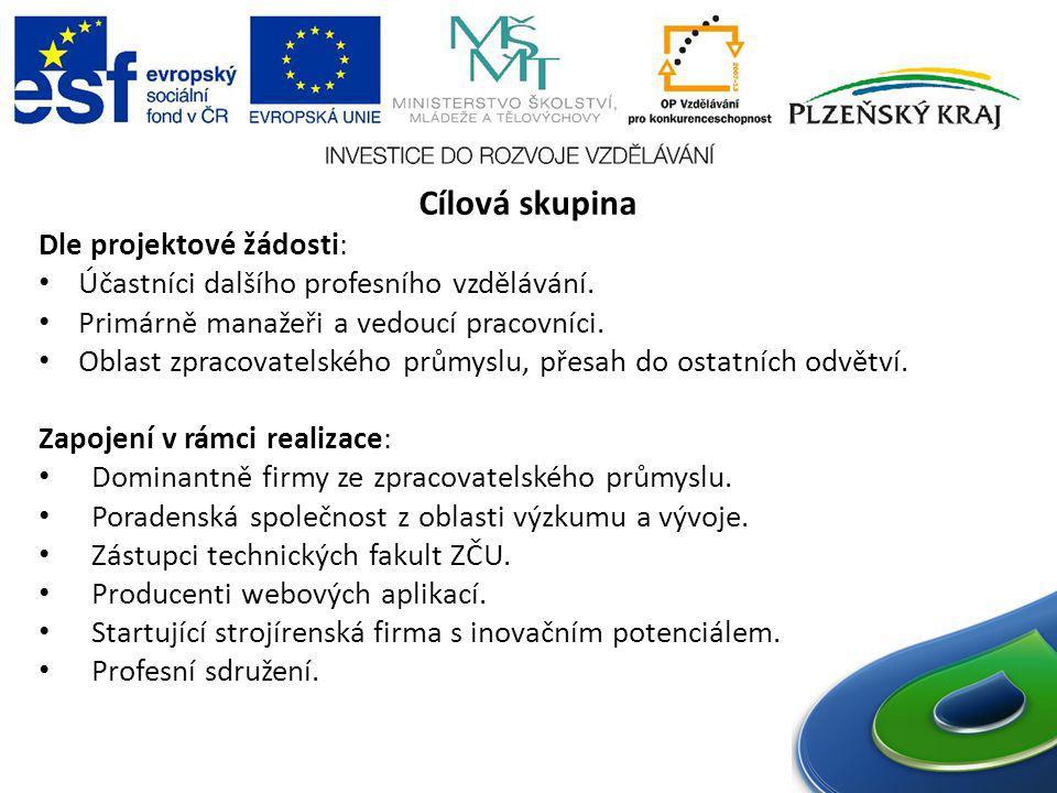 Cílová skupina Dle projektové žádosti: Účastníci dalšího profesního vzdělávání. Primárně manažeři a vedoucí pracovníci. Oblast zpracovatelského průmys