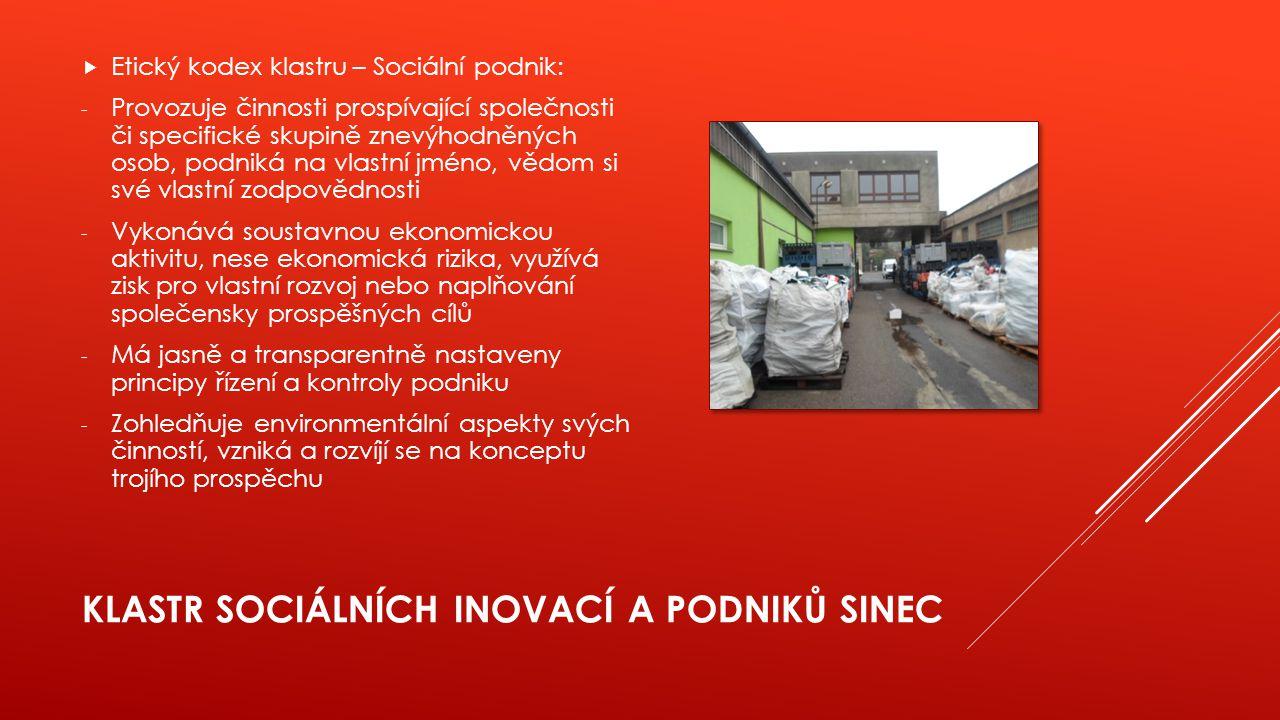 KLASTR SOCIÁLNÍCH INOVACÍ A PODNIKŮ SINEC  Etický kodex klastru – Sociální podnik: - Provozuje činnosti prospívající společnosti či specifické skupin