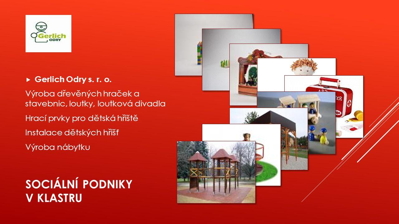 SOCIÁLNÍ PODNIKY V KLASTRU  Gerlich Odry s. r. o. Výroba dřevěných hraček a stavebnic, loutky, loutková divadla Hrací prvky pro dětská hřiště Instala