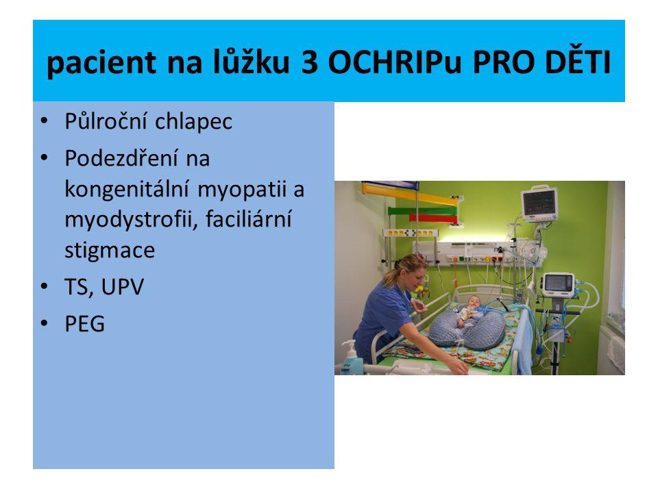 pacient na lůžku 3 OCHRIPu PRO DĚTI Půlroční chlapec Podezdření na kongenitální myopatii a myodystrofii, faciliární stigmace TS, UPV PEG