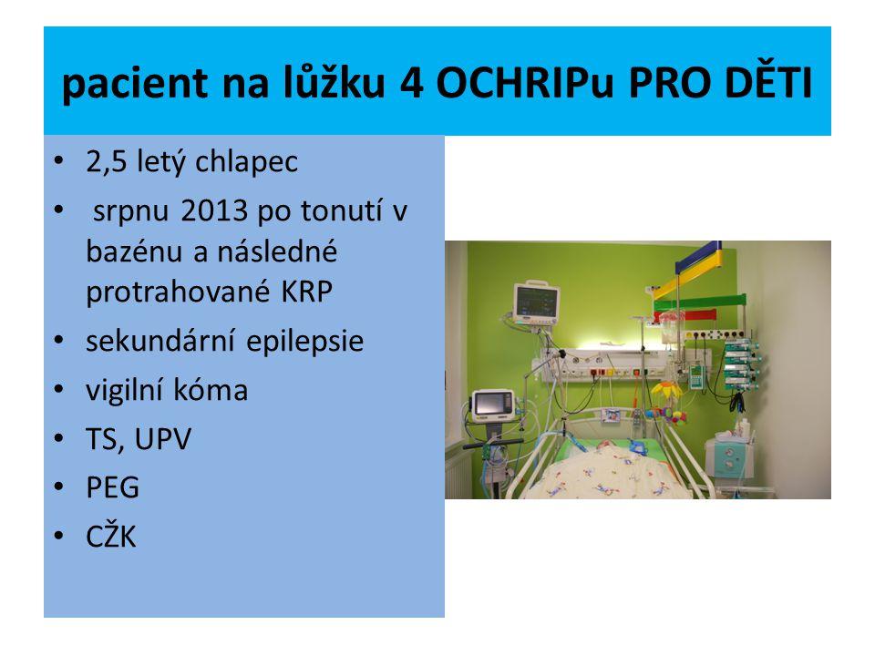pacient na lůžku 4 OCHRIPu PRO DĚTI 2,5 letý chlapec srpnu 2013 po tonutí v bazénu a následné protrahované KRP sekundární epilepsie vigilní kóma TS, U