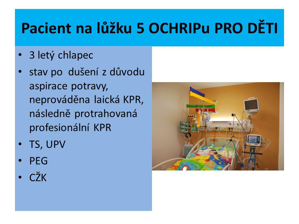 Pacient na lůžku 5 OCHRIPu PRO DĚTI 3 letý chlapec stav po dušení z důvodu aspirace potravy, neprováděna laická KPR, následně protrahovaná profesionál