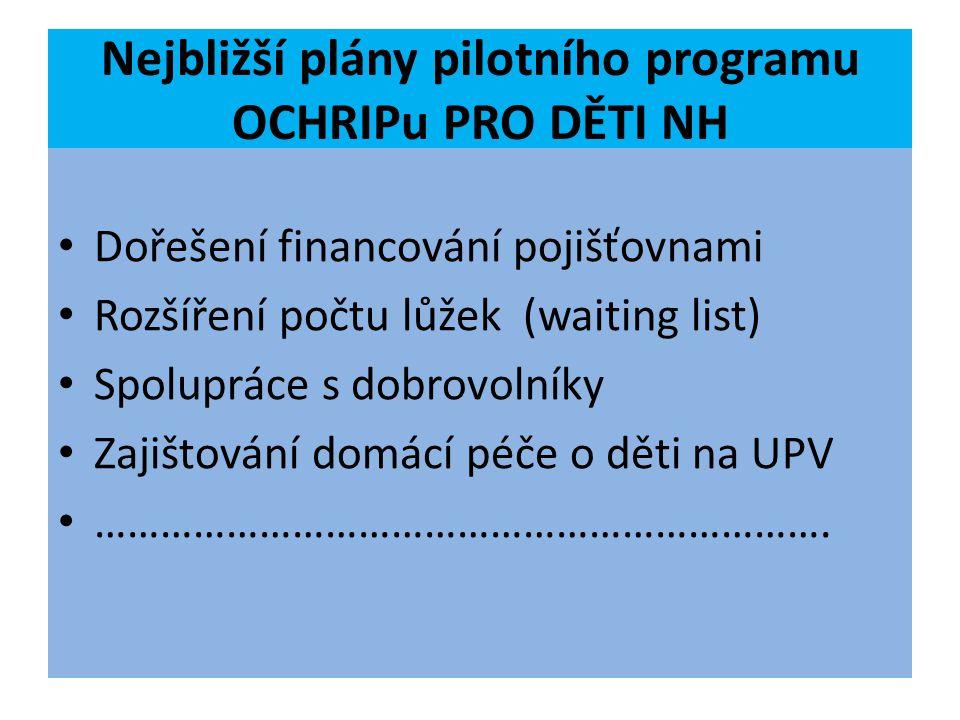 Nejbližší plány pilotního programu OCHRIPu PRO DĚTI NH Dořešení financování pojišťovnami Rozšíření počtu lůžek (waiting list) Spolupráce s dobrovolník