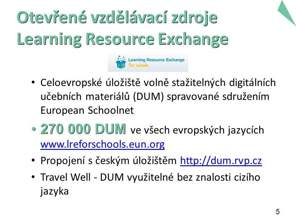 5 Otevřené vzdělávací zdroje Learning Resource Exchange Celoevropské úložiště volně stažitelných digitálních učebních materiálů (DUM) spravované sdruž