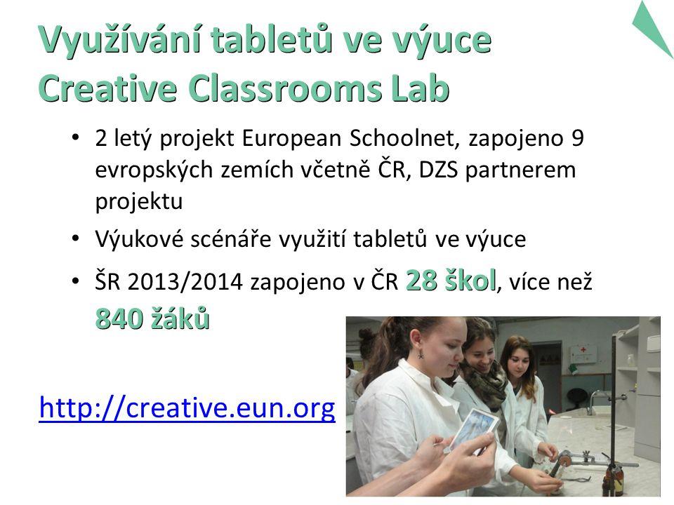 6 Využívání tabletů ve výuce Creative Classrooms Lab 2 letý projekt European Schoolnet, zapojeno 9 evropských zemích včetně ČR, DZS partnerem projektu