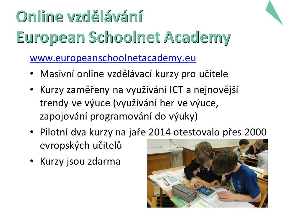 7 Online vzdělávání European Schoolnet Academy www.europeanschoolnetacademy.eu Masivní online vzdělávací kurzy pro učitele Kurzy zaměřeny na využívání ICT a nejnovější trendy ve výuce (využívání her ve výuce, zapojování programování do výuky) Pilotní dva kurzy na jaře 2014 otestovalo přes 2000 evropských učitelů Kurzy jsou zdarma