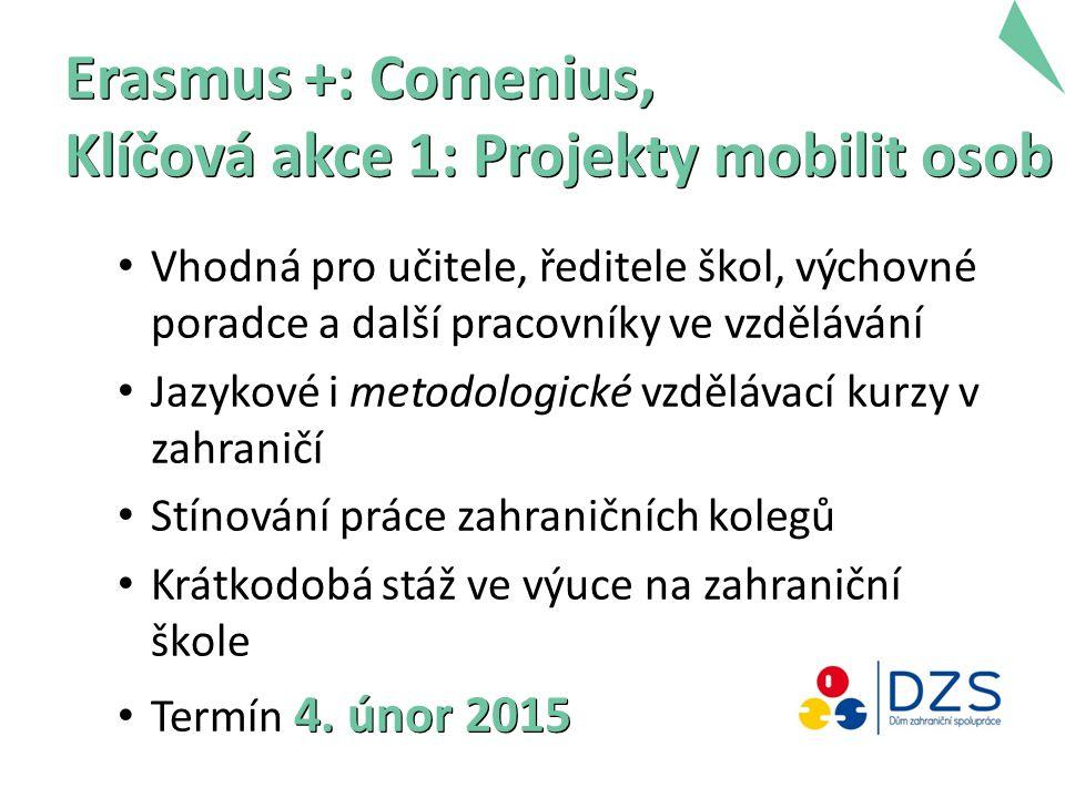 Erasmus +: Comenius, Klíčová akce 1: Projekty mobilit osob Vhodná pro učitele, ředitele škol, výchovné poradce a další pracovníky ve vzdělávání Jazyko