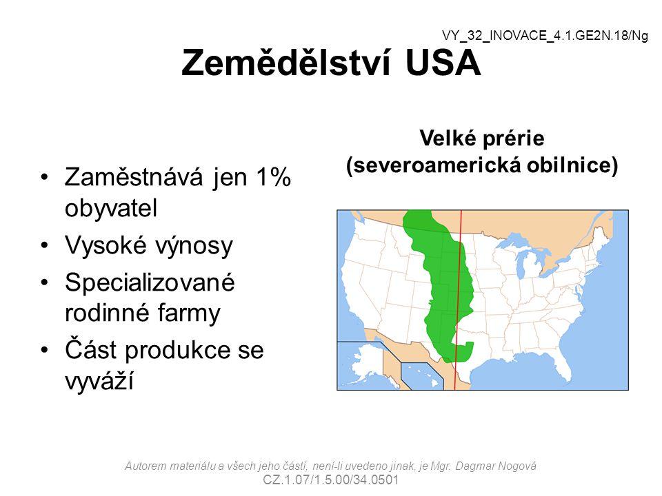 Zemědělství USA Zaměstnává jen 1% obyvatel Vysoké výnosy Specializované rodinné farmy Část produkce se vyváží Velké prérie (severoamerická obilnice) Autorem materiálu a všech jeho částí, není-li uvedeno jinak, je Mgr.