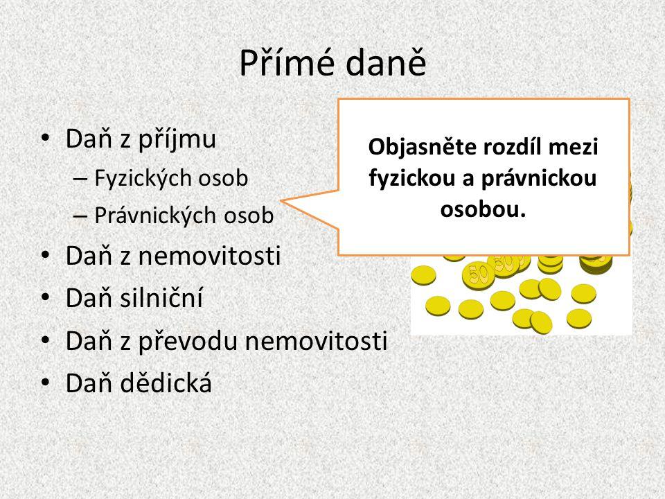 Nepřímé daně Daň z přidané hodnoty – DPH – 15% a 21% v ČR Daň spotřební – U výrobků, jejichž spotřebu chce stát snížit Platí všichni, kteří nakupují!