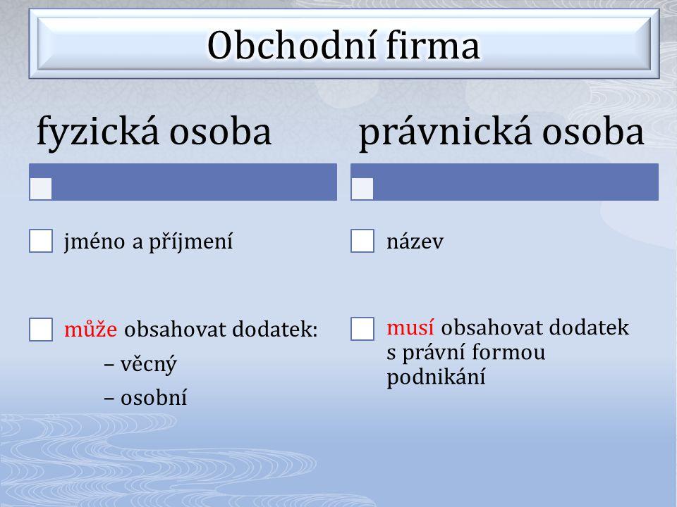 fyzická osoba jméno a příjmení může obsahovat dodatek: – věcný – osobní právnická osoba název musí obsahovat dodatek s právní formou podnikání