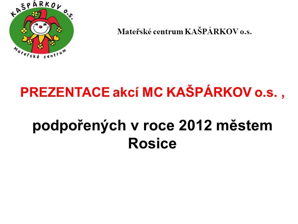 Herna (celoroční projekt) cílem projektu je zajistit prostory pro fungování HERNY v MC KAŠPÁRKOV v roce 2012 byl počet návštěv celkem 1 000 osob, z toho 500 dětí Mateřské centrum KAŠPÁRKOV o.s.