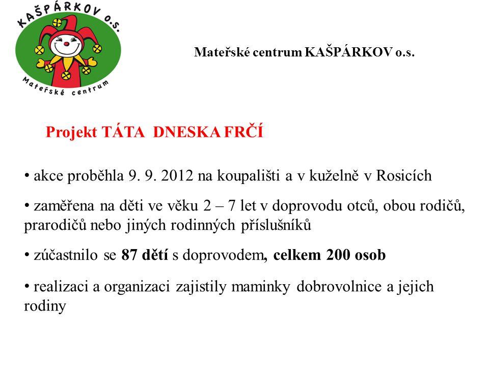 Projekt TÁTA DNESKA FRČÍ akce proběhla 9.9.