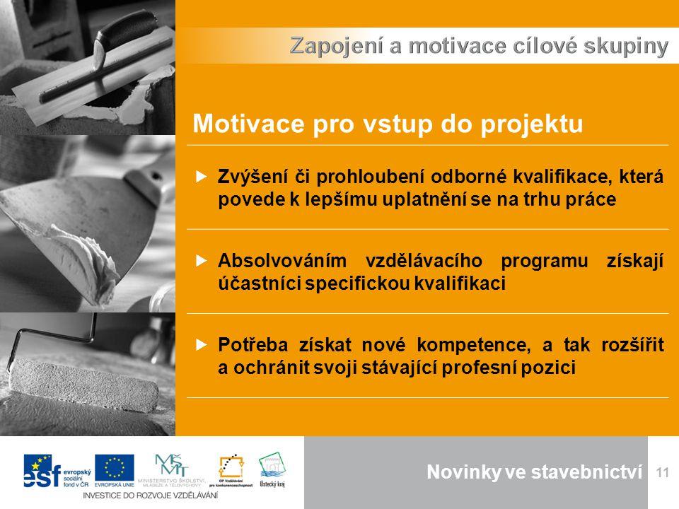 Novinky ve stavebnictví 11 Motivace pro vstup do projektu  Zvýšení či prohloubení odborné kvalifikace, která povede k lepšímu uplatnění se na trhu práce  Absolvováním vzdělávacího programu získají účastníci specifickou kvalifikaci  Potřeba získat nové kompetence, a tak rozšířit a ochránit svoji stávající profesní pozici