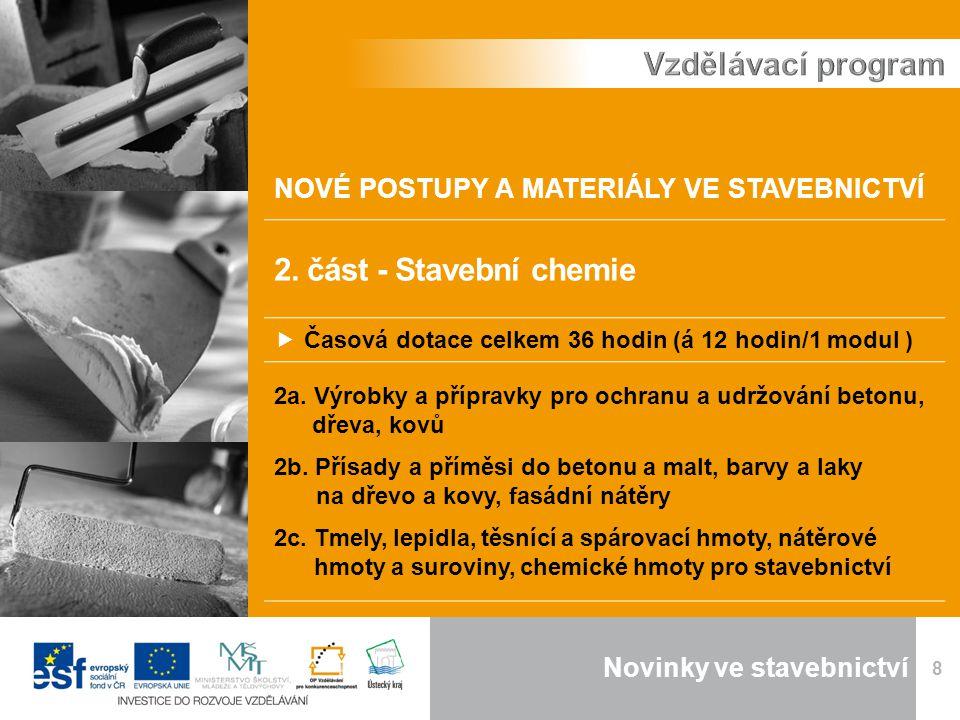 Novinky ve stavebnictví 8 NOVÉ POSTUPY A MATERIÁLY VE STAVEBNICTVÍ 2.
