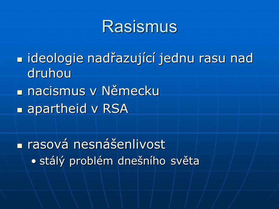 Rasismus ideologie nadřazující jednu rasu nad druhou ideologie nadřazující jednu rasu nad druhou nacismus v Německu nacismus v Německu apartheid v RSA