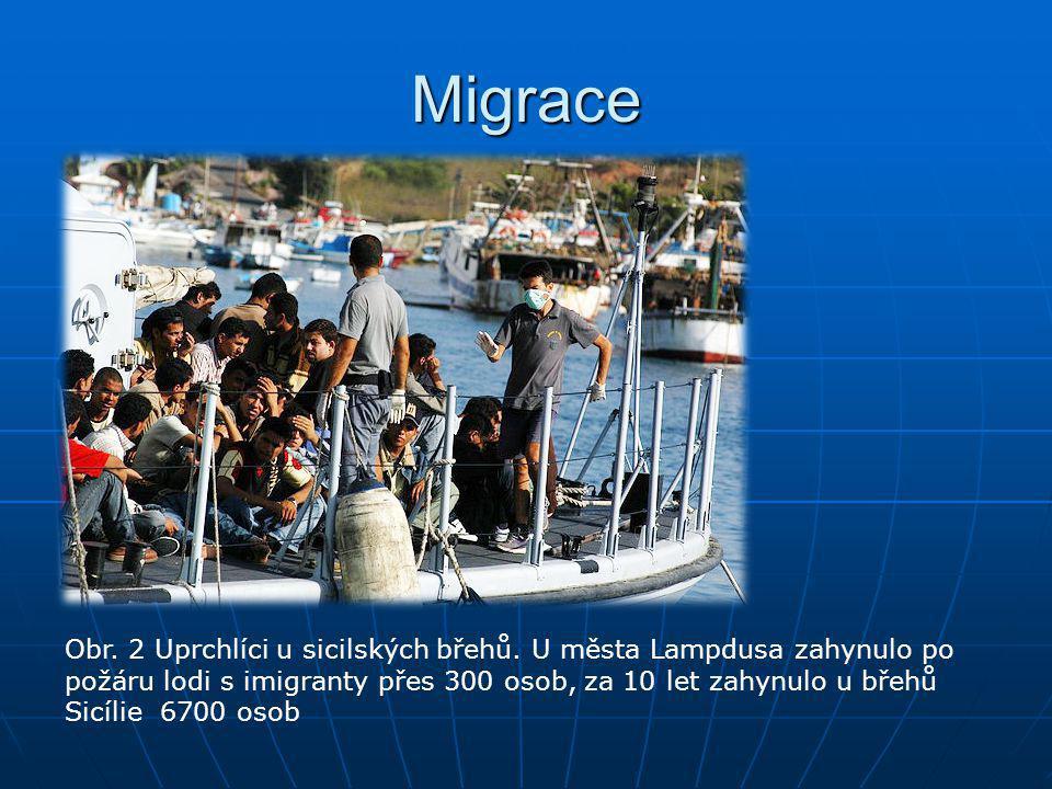 Migrace Obr. 2 Uprchlíci u sicilských břehů. U města Lampdusa zahynulo po požáru lodi s imigranty přes 300 osob, za 10 let zahynulo u břehů Sicílie 67