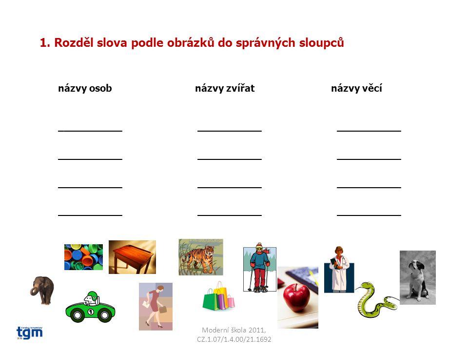 1. Rozděl slova podle obrázků do správných sloupců názvy osob názvy zvířat názvy věcí ___________ ___________ ___________