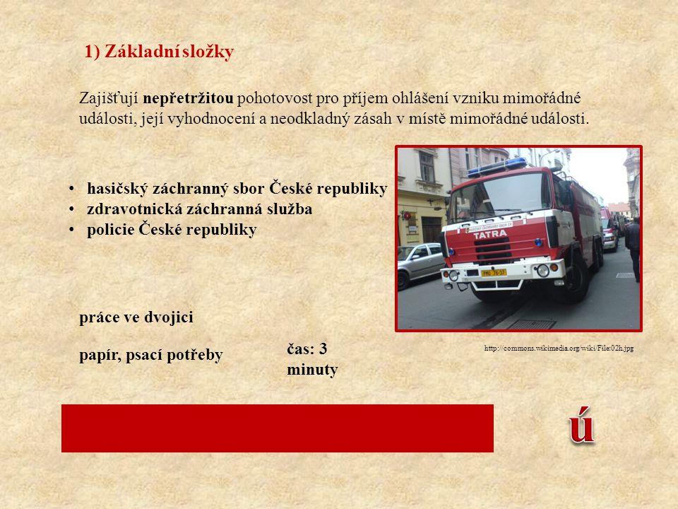 2) Ostatní složky Poskytují při záchranných a likvidačních pracích plánovanou pomoc na vyžádání.