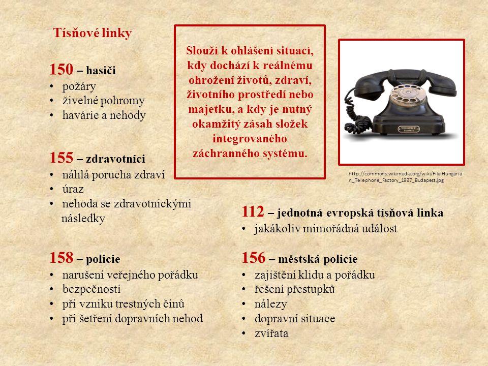 je bezplatné v případě předplacených SIM karet je nutné mít na kartě alespoň minimální kredit pokud je zřejmé, koho budete potřebovat je vhodnější volat přímo příslušnou tísňovou linku je bezplatné je možné volat i bez vložené SIM karty ze zcela vyčerpané předplacené karty lze volat i prostřednictvím sítí ostatních operátorů lze volat i ze zamknutého mobilního telefonu volání v češtině, angličtině, němčině http://commons.wikimedia.org/wiki/File:ZZS_ZK,_krajsk%C3%A9_opera%C4%8Dn%C3%AD_st%C 5%99edisko_%2801%29.jpg