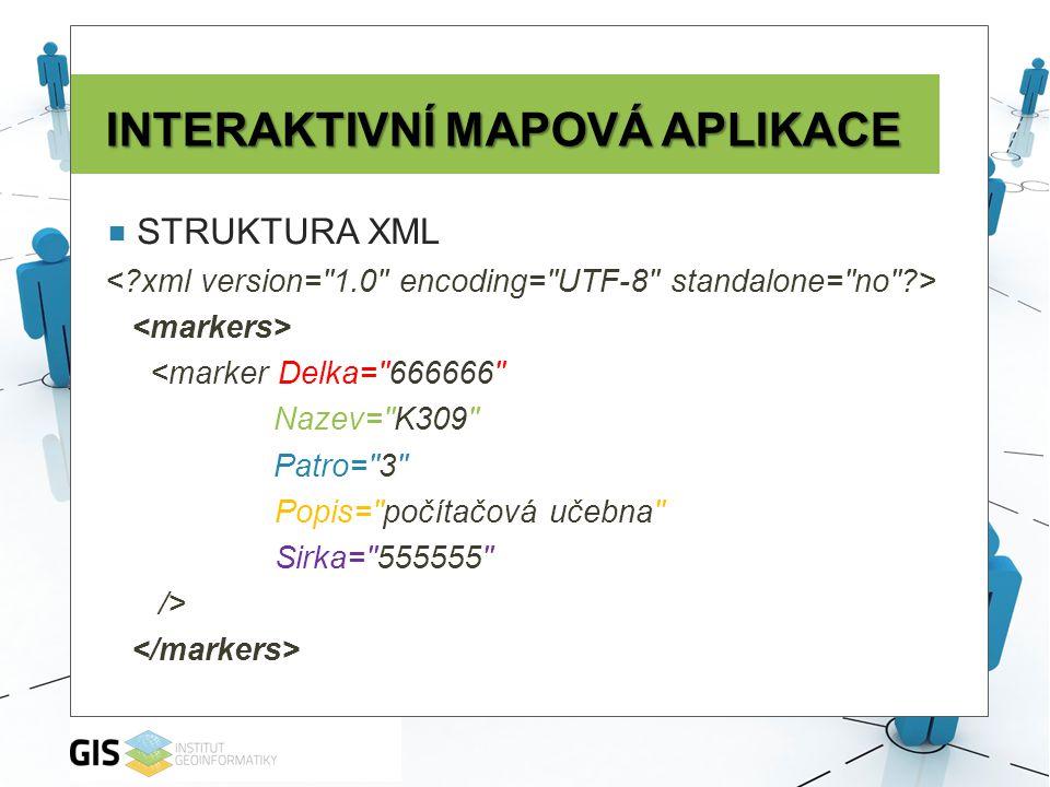 INTERAKTIVNÍ MAPOVÁ APLIKACE  STRUKTURA XML <marker Delka= 666666 Nazev= K309 Patro= 3 Popis= počítačová učebna Sirka= 555555 />