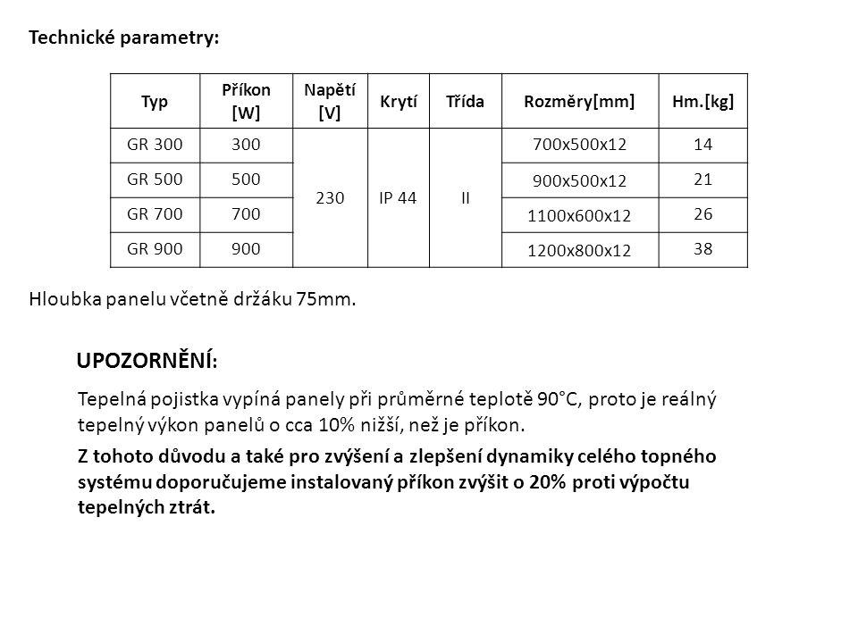 Typ Příkon [W] Napětí [V] KrytíTřídaRozměry[mm]Hm.[kg] GR 300300 230IP 44II 700x500x1214 GR 500500 900x500x12 21 GR 700700 1100x600x12 26 GR 900900 12