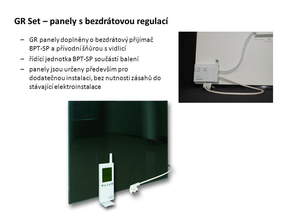 GR Set – panely s bezdrátovou regulací –GR panely doplněny o bezdrátový přijímač BPT-SP a přívodní šňůrou s vidlicí –řídící jednotka BPT-SP součástí b