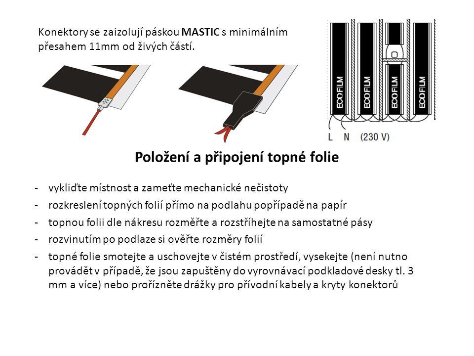 Konektory se zaizolují páskou MASTIC s minimálním přesahem 11mm od živých částí. Položení a připojení topné folie -vykliďte místnost a zameťte mechani