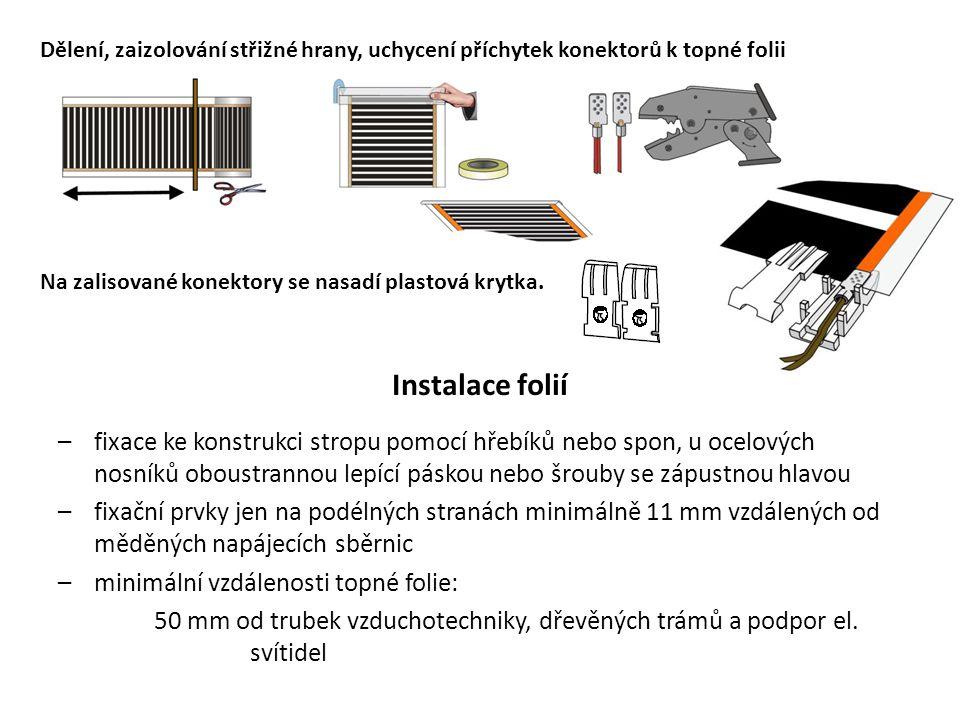 Dělení, zaizolování střižné hrany, uchycení příchytek konektorů k topné folii Na zalisované konektory se nasadí plastová krytka. Instalace folií –fixa