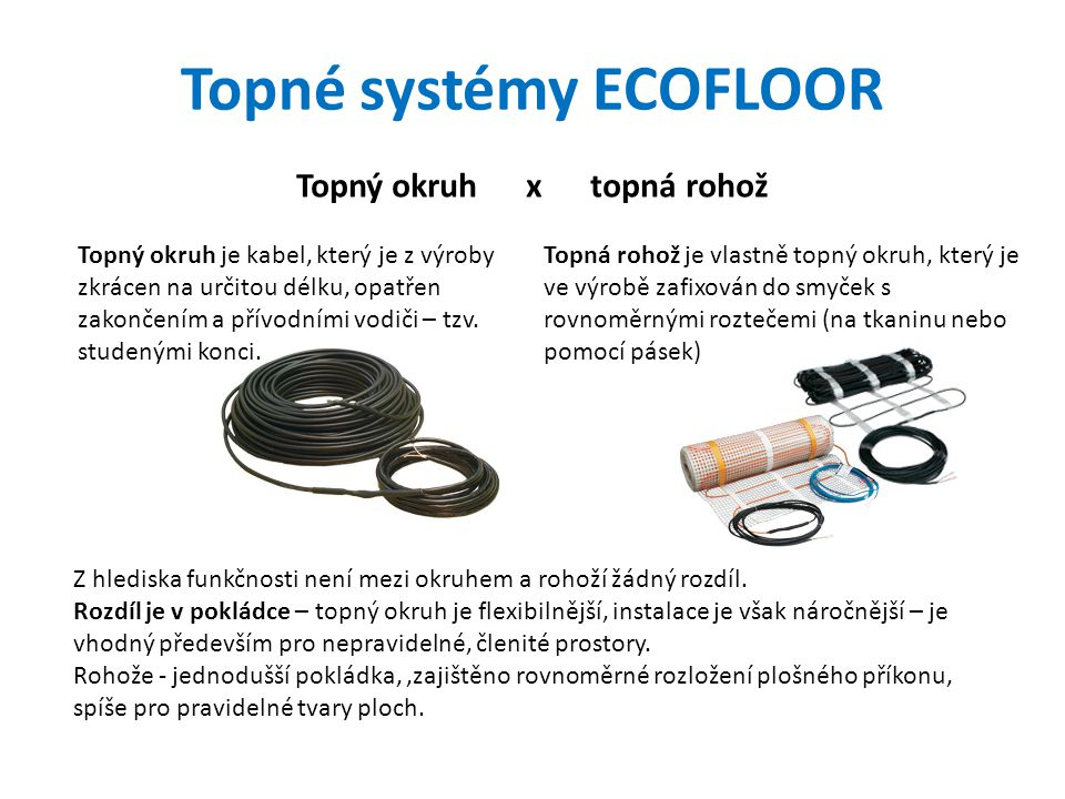 Topné systémy ECOFLOOR Topný okruh x topná rohož Topný okruh je kabel, který je z výroby zkrácen na určitou délku, opatřen zakončením a přívodními vod