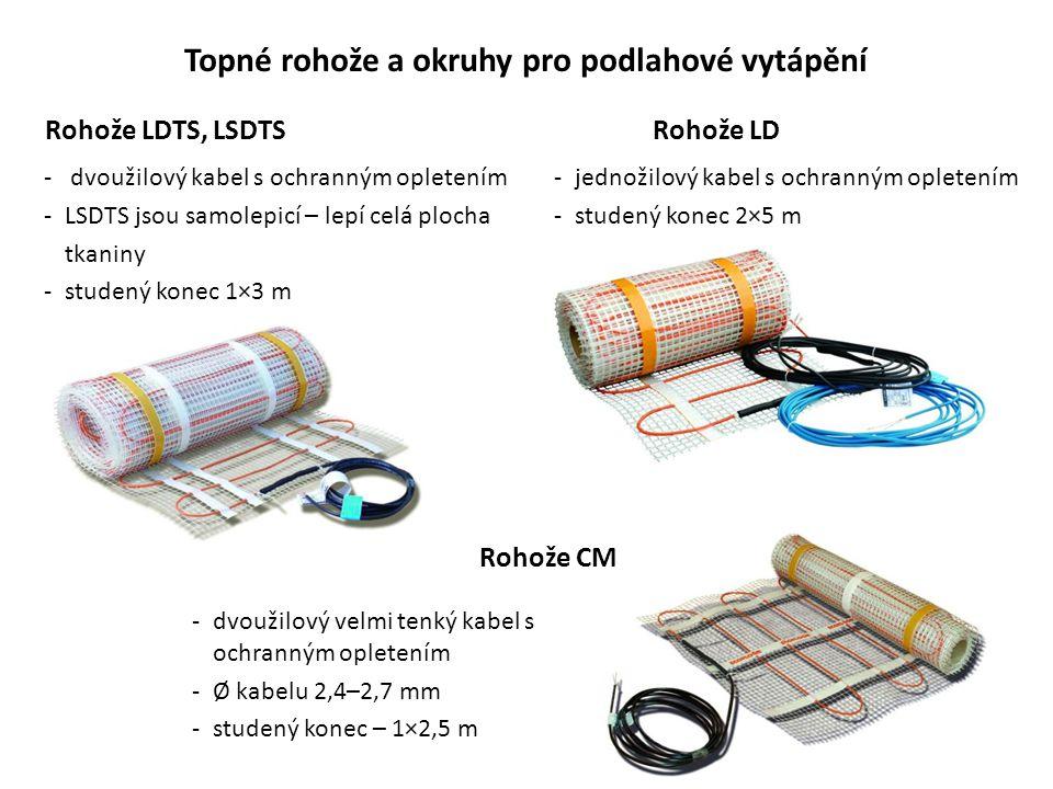 Topné rohože a okruhy pro podlahové vytápění Rohože LDTS, LSDTSRohože LD Rohože CM - dvoužilový kabel s ochranným opletením -LSDTS jsou samolepicí – l
