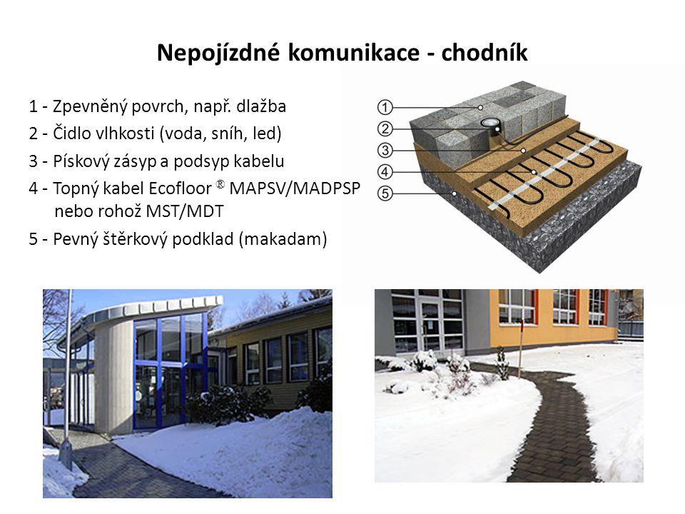 Nepojízdné komunikace - chodník 1 - Zpevněný povrch, např. dlažba 2 - Čidlo vlhkosti (voda, sníh, led) 3 - Pískový zásyp a podsyp kabelu 4 - Topný kab