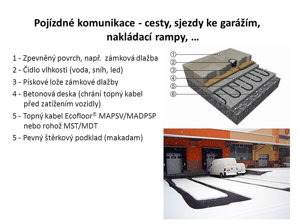 Pojízdné komunikace - cesty, sjezdy ke garážím, nakládací rampy, … 1 - Zpevněný povrch, např. zámková dlažba 2 - Čidlo vlhkosti (voda, sníh, led) 3 -