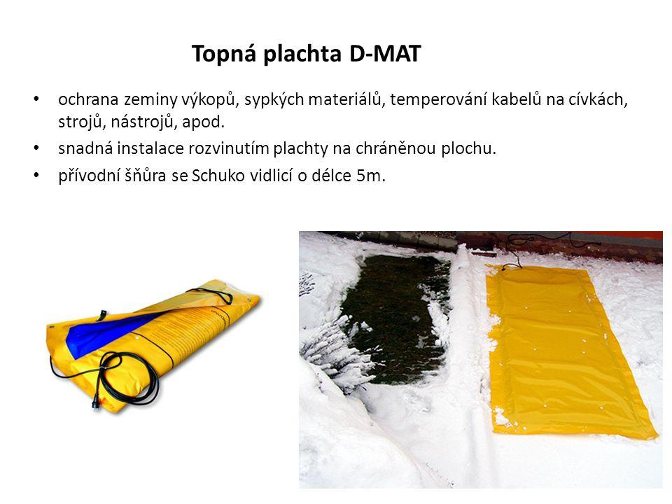 Topná plachta D-MAT ochrana zeminy výkopů, sypkých materiálů, temperování kabelů na cívkách, strojů, nástrojů, apod. snadná instalace rozvinutím plach