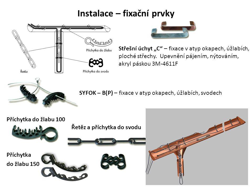 """Instalace – fixační prvky Střešní úchyt """"C"""" – fixace v atyp okapech, úžlabích, ploché střechy. Upevnění pájením, nýtováním, akryl páskou 3M-4611F SYFO"""