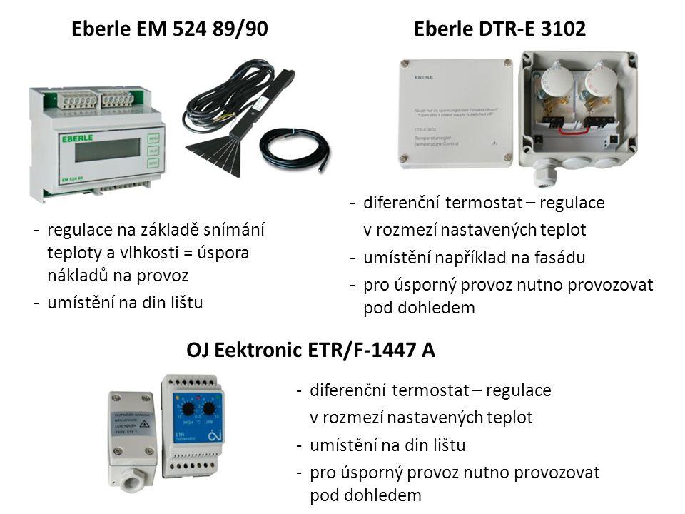 Eberle EM 524 89/90 -regulace na základě snímání teploty a vlhkosti = úspora nákladů na provoz -umístění na din lištu Eberle DTR-E 3102 -diferenční te