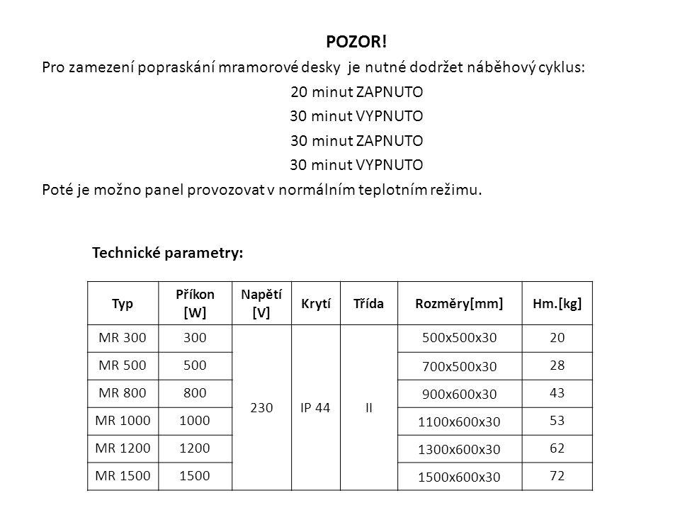 Test mramorového topného panelu MR 1200 Měření probíhalo ve zkušební místnosti, ve které byla udržována teplota okolí prostorovým termostatem na 20°C.
