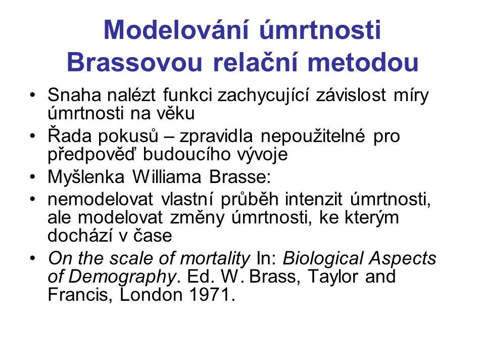 """Východisko metody: křivky l(x) počtu dožívajících se přesného věku x, mají vždy podobný průběh, charakterem připomínající nepravidelně """"stlačenou logistickou křivku (Obrázek převzat z Koschin F., Vybrané demografické modely, VŠE Praha 1995, ISBN 80-7079-761-4)"""