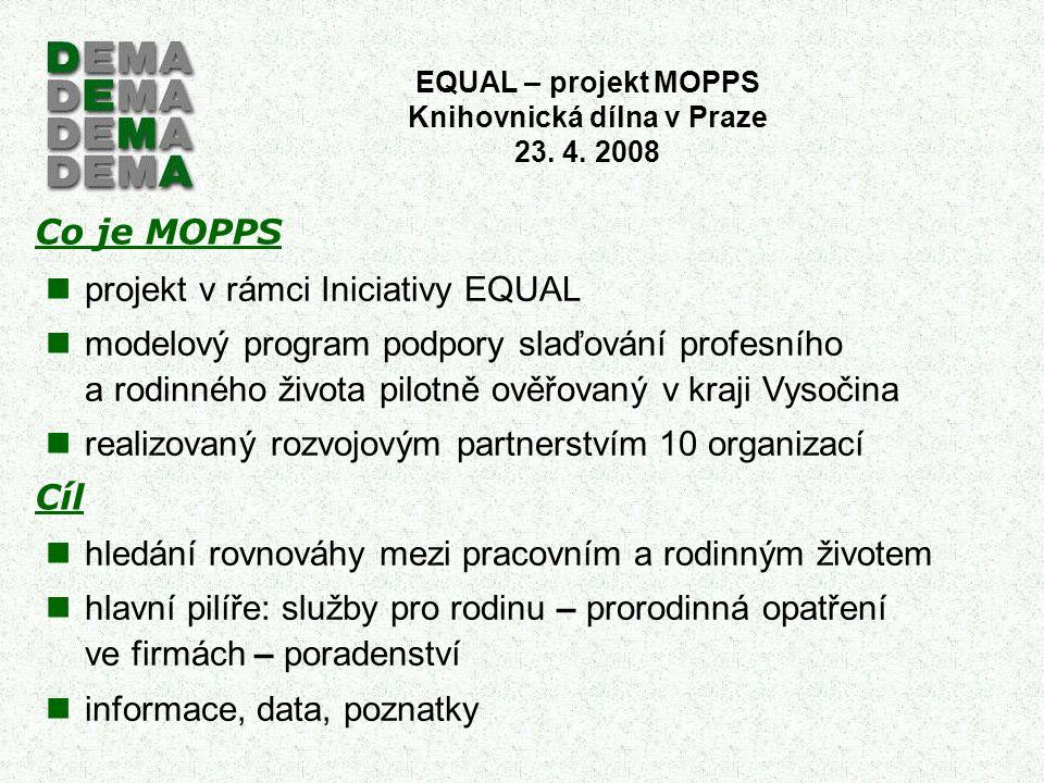 Co je MOPPS Cíl projekt v rámci Iniciativy EQUAL modelový program podpory slaďování profesního a rodinného života pilotně ověřovaný v kraji Vysočina r