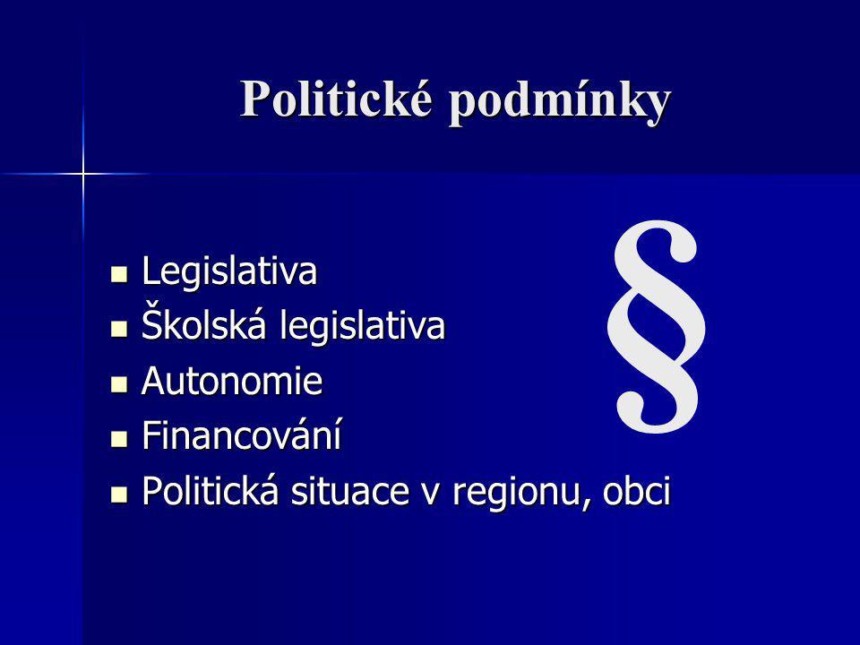 Politické podmínky Legislativa Legislativa Školská legislativa Školská legislativa Autonomie Autonomie Financování Financování Politická situace v reg