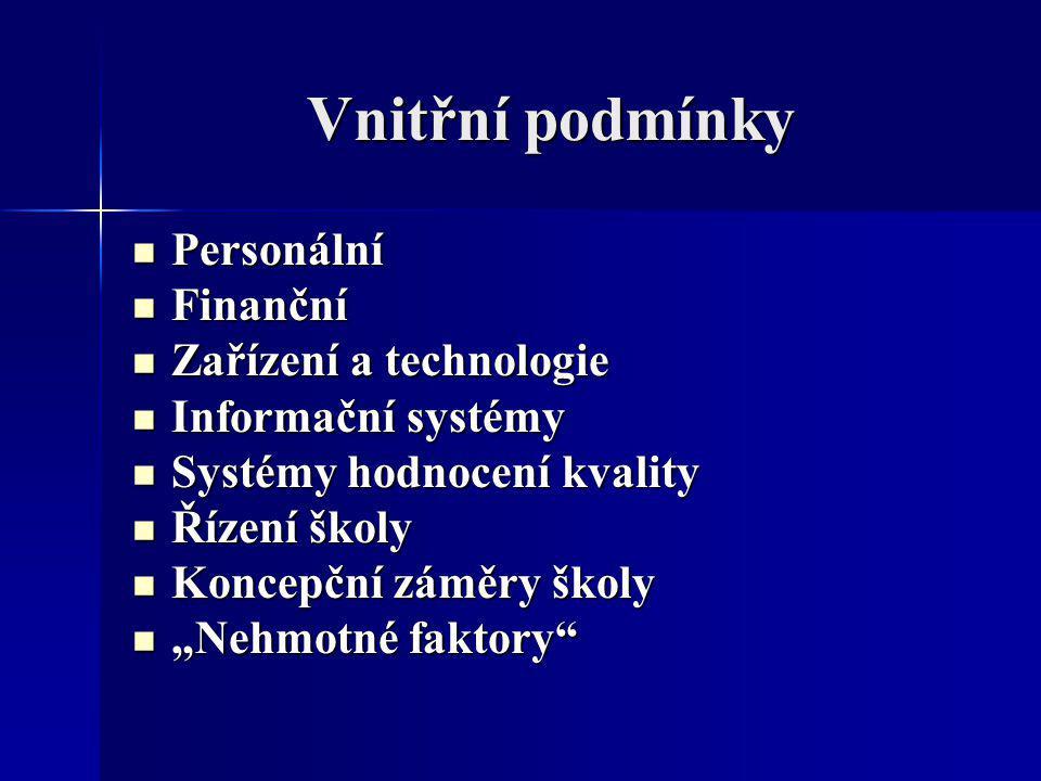 Vnitřní podmínky Personální Personální Finanční Finanční Zařízení a technologie Zařízení a technologie Informační systémy Informační systémy Systémy h