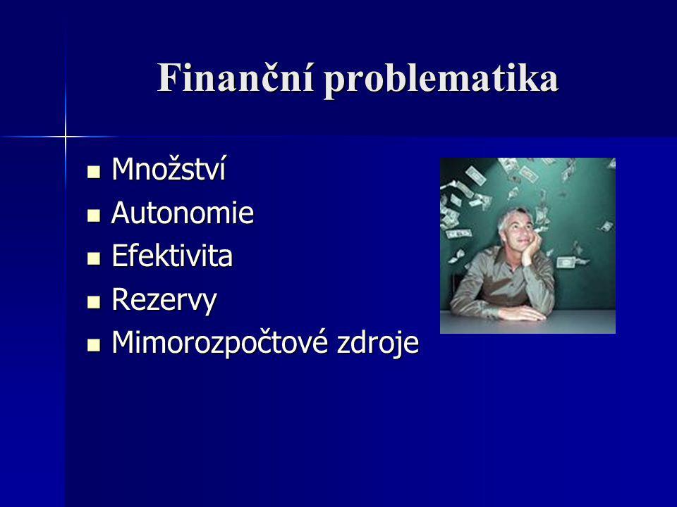 Finanční problematika Množství Množství Autonomie Autonomie Efektivita Efektivita Rezervy Rezervy Mimorozpočtové zdroje Mimorozpočtové zdroje