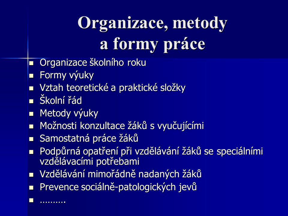 Organizace, metody a formy práce Organizace školního roku Organizace školního roku Formy výuky Formy výuky Vztah teoretické a praktické složky Vztah t